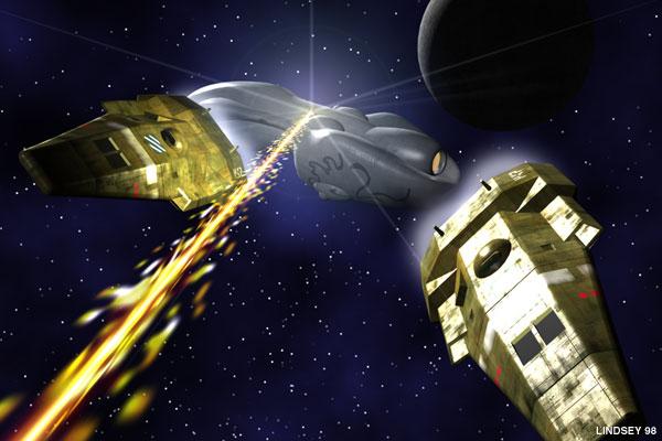 Aslan ship firing on System Defense Boats