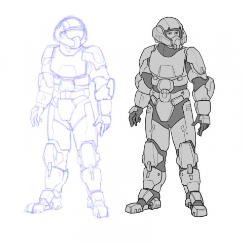 Blue line sketch and inked version of battlesuit