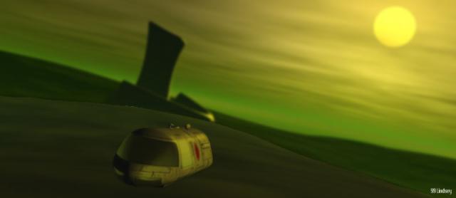 G-Carrier departing alien structure