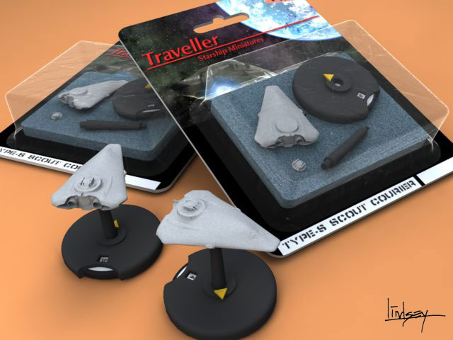 Traveller miniatures blister pack rendering