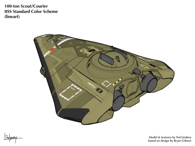 Type S Scout/Courier lineart rendering (rear)